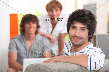 Three Friends Hanging Out. Stock Photo