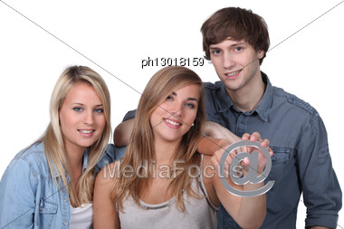 Three Friends Holding At Symbol Stock Photo