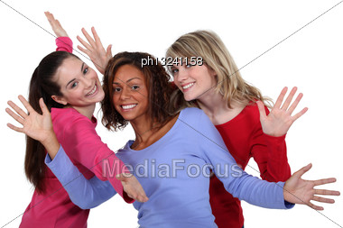 Three Friends Posing Stock Photo