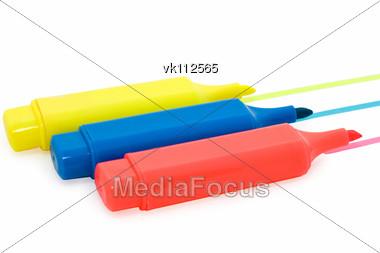 three markers Stock Photo