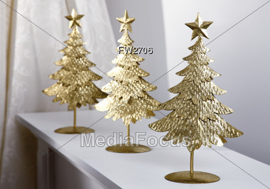 royalty free stock photo three metal christmas tree decorations - Metal Christmas Decorations