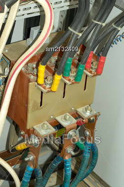 Three-phase Power Wires To Power The Pump Motor Stock Photo