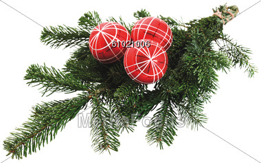 Three Red Christmas Ball On Fir Branches Stock Photo