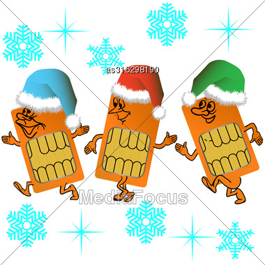 Three SIM Cards Go In Santa Outfit On A Background Of Snowflakes Stock Photo