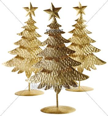 Three Small Tin Christmas Trees Stock Photo