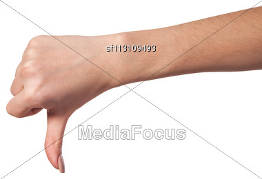Thumb Down Female Hand Sign Isolated On A White Bakground Stock Photo