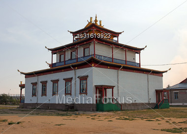 Tibetan Style Mahayana Buddhist Temple Datsan In Siberian Town Of Ivolginsk Near Ulan Ude, Russia Stock Photo