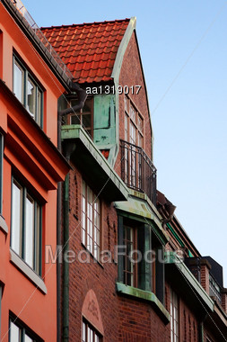 Tiled Roof Houses And A Small Balcony Stock Photo