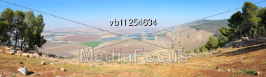 Tilled Fields And Mountains In The North Of Israel, In Galilee Stock Photo