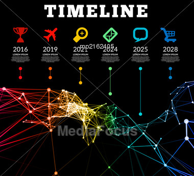 Timeline Element Vector Infographic On Black Background Stock Photo