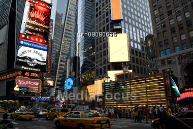 Times Square, New York City, USA - Street Traffic Stock Photo