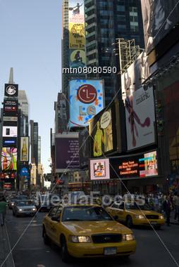 Times Square Traffic, New York, USA Stock Photo