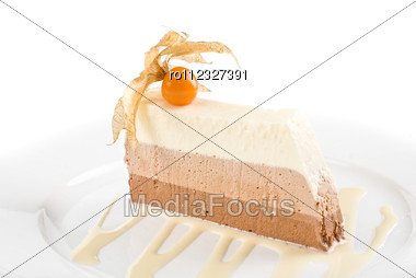Tiramisu Dessert With Ground-cherry Closeup On A White Stock Photo