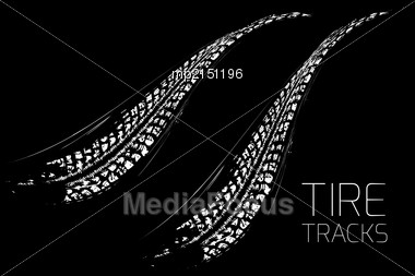 Tire Tracks Background In Black And White Style. Vector Illustration. Can Be Used For For Posters, Brochures, Publications, Advertising, Transportation, Wheels, Tires And Sporting Events Stock Photo