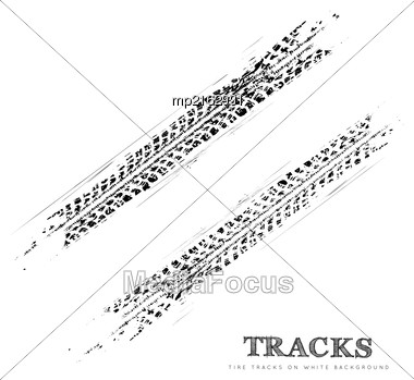Tire Tracks Background In Black And White Style. Vector Illustration Stock Photo