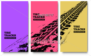 Tire Tracks Background. Vector Illustration. Can Be Used For For Posters, Brochures, Publications, Advertising, Transportation, Wheels, Tires And Sporting Events Stock Photo