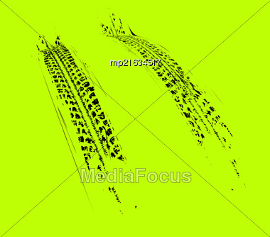 Tire Tracks Background. Vector Illustration On Green Stock Photo