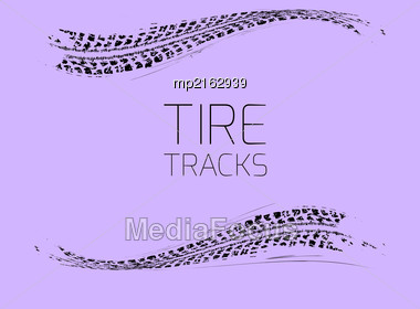 Tire Tracks Background. Vector Illustration On A Light Purple Stock Photo