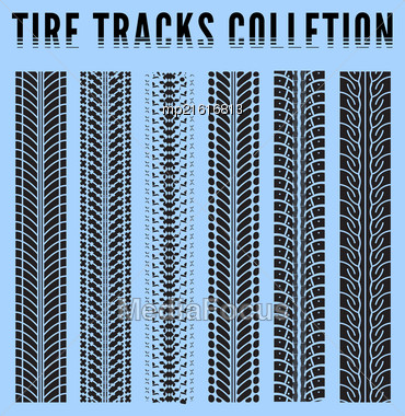 Tire Tracks Collection. Vector Illustration Blue Background Stock Photo