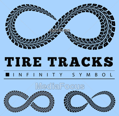 Tire Tracks In Infinity Form. Vector Illustration Stock Photo