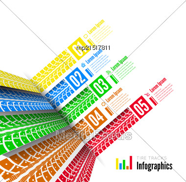 Tire Tracks Infographics Background. Vector Illustration On White Stock Photo