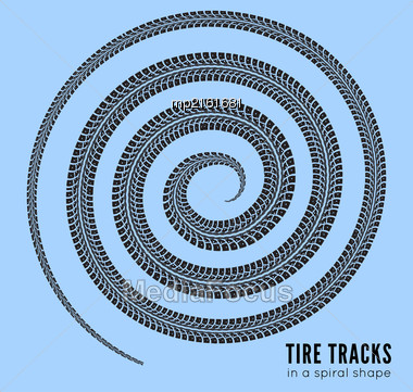 Tire Tracks In Spiral Shape. Vector Illustration On White Background Stock Photo