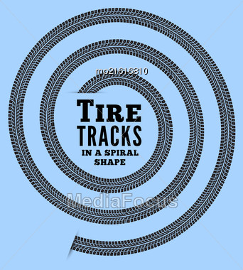 Tire Tracks In Spiral Shape. Vector Illustration On Bluebackground Stock Photo