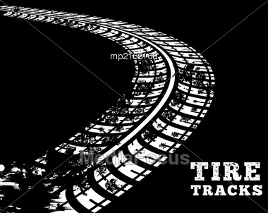 Tire Tracks. Vector Illustration On Black Background Stock Photo