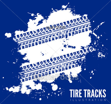 Tire Tracks. Vector Illustration On Blue Background Stock Photo