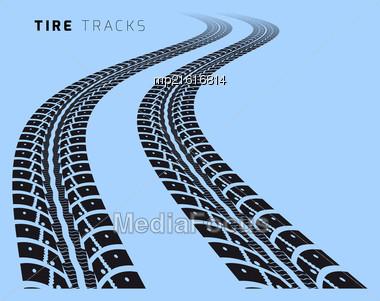 Tire Tracks. Vector Illustration On Blue Background Stock Photo