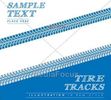 Tire Tracks. Vector Illustration On Blue And White Background Stock Photo