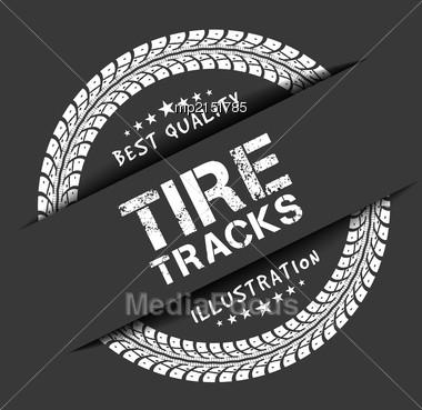 Tire Tracks. Vector Illustration On Dark Grey Background Stock Photo