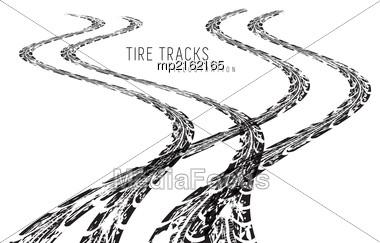 Tire Tracks. Vector Illustration On White Background Stock Photo