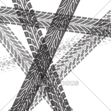 Tire Tracks. Vector Illustration On White Background Stock Photo