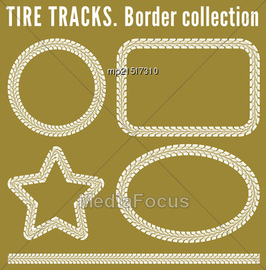 Tire Tracks. Vector Illustration On Yellow Background Stock Photo