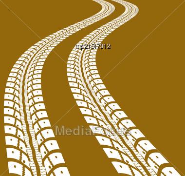 Tire Tracks. Vector Illustration On Yellow Background Stock Photo