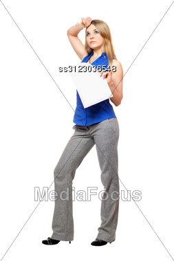 Tired Young Business Woman With A Paper Document Stock Photo