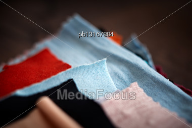 Tissue Colored Materials, Closeup Stock Photo
