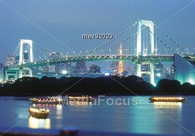 Tokyo Rainbow Bridge, In The Evening, Japan Stock Photo