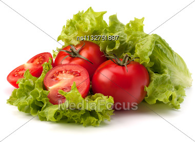 Tomato, Cucumber Vegetable And Lettuce Salad Isolated On White Background Stock Photo