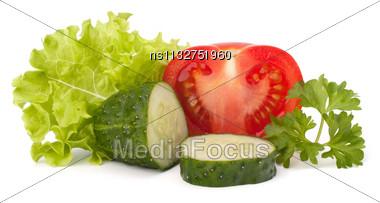 Tomato, Cucumber Vegetable And Lettuce Salad Isolated On White Background Stock Photo