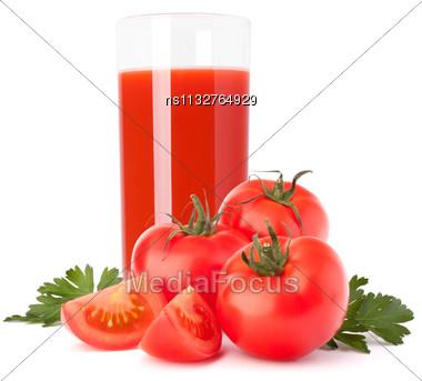 Tomato Juice Glass Isolated On White Background Stock Photo
