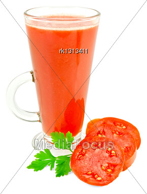 Tomato Juice In A Tall Glass With Sliced Tomatoes, Green Sprig Of Parsley Isolated On White Background Stock Photo