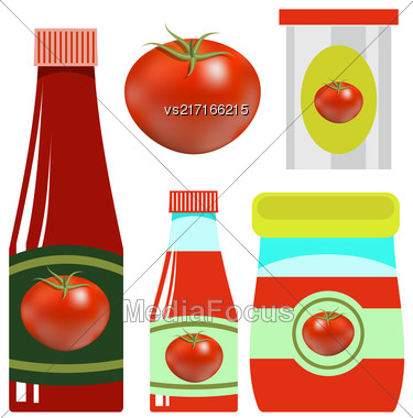 Tomato Ketchup In Glass Bottle On White Background Stock Photo