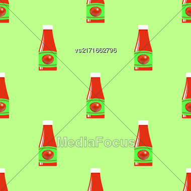 Tomato Ketchup Seamless Pattern On Green. Seasoning For Meat Dishes Stock Photo
