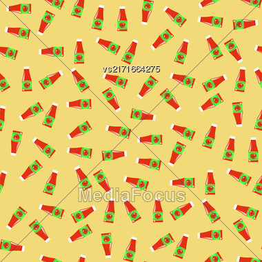 Tomato Ketchup Seamless Pattern On Yellow. Seasoning For Meat Dishes Stock Photo