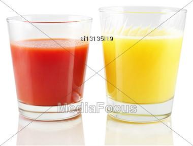 Tomato And Orange Juice On White Background Stock Photo
