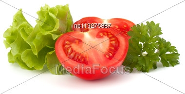 Tomato Vegetable And Lettuce Salad Isolated On White Background Stock Photo