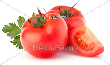 Tomato Vegetables And Parsley Leaves Still Life Isolated On White Background Cutout Stock Photo
