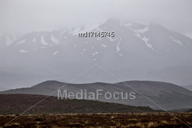 Tongariro National Park Misty Foggy Day Scenic Stock Photo